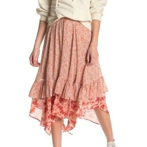 NWT Free People Zuma Floral Tiered Skirt Size 0